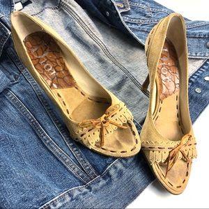 DIOR Tan Suede Leather Moccasin Tie Fringe Heels 8